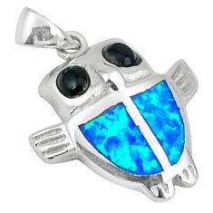 Blue australian opal (lab) onyx enamel 925 silver owl pendant c15628