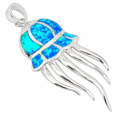 Blue australian opal (lab) topaz enamel 925 silver octopus pendant a76421 c15369