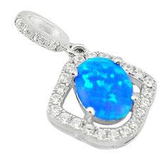 Blue australian opal (lab) white topaz 925 sterling silver pendant c25851