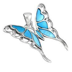 Blue blister pearl enamel 925 silver butterfly pendant jewelry a39728 c14909