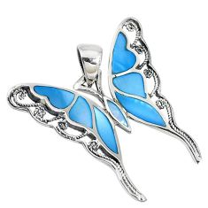 Blue blister pearl enamel 925 silver butterfly pendant jewelry c22748