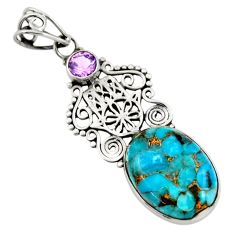 13.55cts blue copper turquoise 925 silver hand of god hamsa pendant d41754
