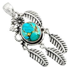 4.93cts blue copper turquoise 925 sterling silver dreamcatcher pendant d44882