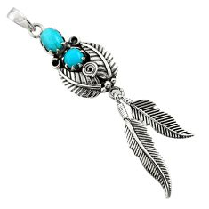 2.35cts blue copper turquoise 925 sterling silver dreamcatcher pendant d44883