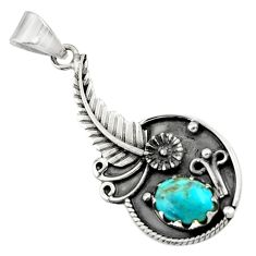 2.92cts blue copper turquoise 925 sterling silver flower pendant jewelry d44867