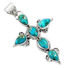 9.50cts blue copper turquoise 925 sterling silver holy cross pendant r47953