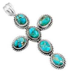 9.40cts blue copper turquoise 925 sterling silver holy cross pendant r47991