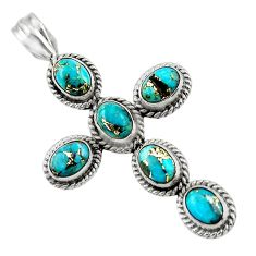 9.25cts blue copper turquoise 925 sterling silver holy cross pendant r47992