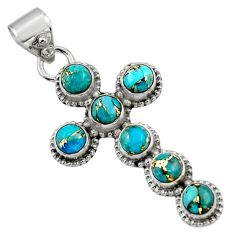 6.83cts blue copper turquoise 925 sterling silver holy cross pendant r48007
