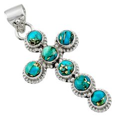 6.83cts blue copper turquoise 925 sterling silver holy cross pendant r48012