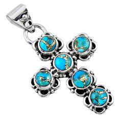 4.38cts blue copper turquoise 925 sterling silver holy cross pendant r55787