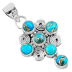 4.02cts blue copper turquoise 925 sterling silver holy cross pendant r55788