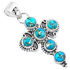 4.46cts blue copper turquoise 925 sterling silver holy cross pendant r55828
