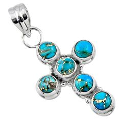 4.78cts blue copper turquoise 925 sterling silver holy cross pendant r55865