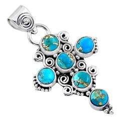 4.94cts blue copper turquoise 925 sterling silver holy cross pendant r55908