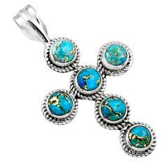 4.40cts blue copper turquoise 925 sterling silver holy cross pendant r55945