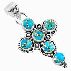 4.22cts blue copper turquoise 925 sterling silver holy cross pendant r55946