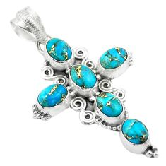 9.63cts blue copper turquoise 925 sterling silver holy cross pendant t53051
