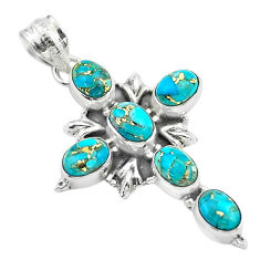 9.64cts blue copper turquoise 925 sterling silver holy cross pendant t53054