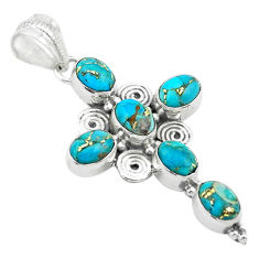 9.10cts blue copper turquoise 925 sterling silver holy cross pendant t53057