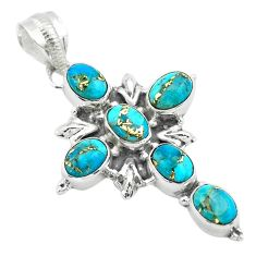 9.07cts blue copper turquoise 925 sterling silver holy cross pendant t53058