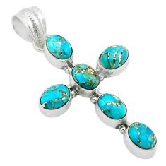 9.25cts blue copper turquoise 925 sterling silver holy cross pendant t53060