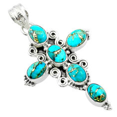 9.67cts blue copper turquoise 925 sterling silver holy cross pendant t53095