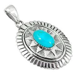 Southwestern blue copper turquoise 925 silver pendant jewelry c10823