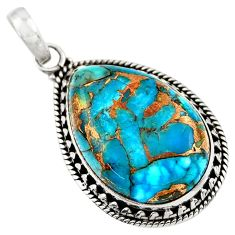18.10cts blue copper turquoise 925 sterling silver pendant jewelry d41799