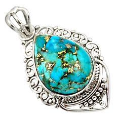 11.17cts blue copper turquoise 925 sterling silver pendant jewelry r32273