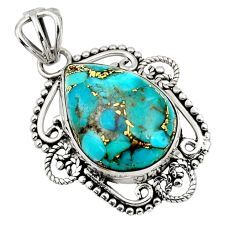 12.22cts blue copper turquoise 925 sterling silver pendant jewelry r32320