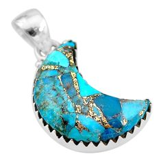 10.08cts blue copper turquoise 925 sterling silver moon pendant t21881