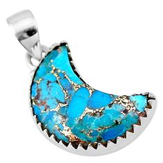 10.22cts blue copper turquoise 925 sterling silver moon pendant t21882