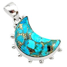 10.15cts blue copper turquoise 925 sterling silver moon pendant t21941