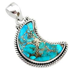 12.60cts blue copper turquoise 925 sterling silver moon pendant t21945