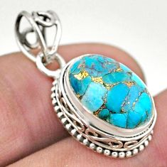5.63cts blue copper turquoise 925 sterling silver pendant jewelry t46741