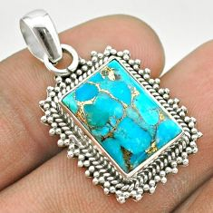 7.36cts blue copper turquoise 925 sterling silver pendant jewelry t53162