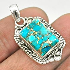 7.53cts blue copper turquoise 925 sterling silver pendant jewelry t53164