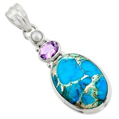 16.54cts blue copper turquoise amethyst pearl 925 sterling silver pendant d41757