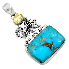 20.33cts blue copper turquoise citrine 925 sterling silver dragon pendant d41734