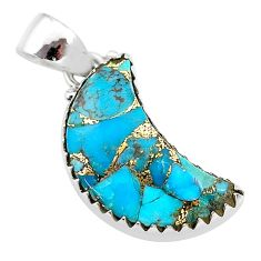 10.15cts blue copper turquoise fancy 925 sterling silver moon pendant t21951
