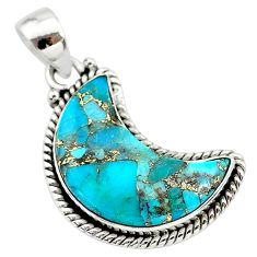 12.58cts blue copper turquoise fancy 925 sterling silver moon pendant t21959