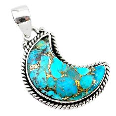 12.22cts blue copper turquoise fancy 925 sterling silver moon pendant t21996
