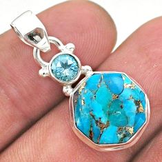 7.00cts blue copper turquoise hexagon topaz 925 silver pendant jewelry t46465