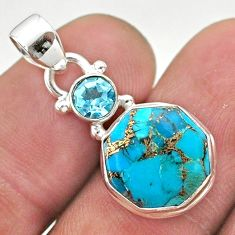6.25cts blue copper turquoise hexagon topaz 925 silver pendant jewelry t46466