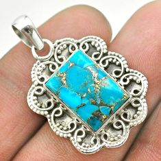7.67cts blue copper turquoise octagan 925 sterling silver pendant jewelry t53165