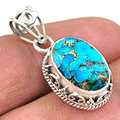 5.34cts blue copper turquoise oval 925 sterling silver pendant jewelry t46706