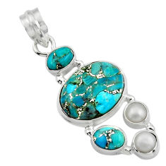 15.16cts blue copper turquoise pearl 925 sterling silver pendant jewelry r44647