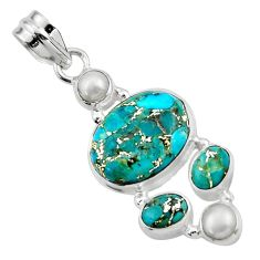 15.02cts blue copper turquoise pearl 925 sterling silver pendant jewelry r44651