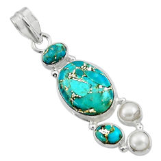 15.02cts blue copper turquoise pearl 925 sterling silver pendant jewelry r44653